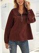 Red Plain Boho Long Sleeve Cotton-Blend Shirts & Tops