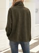 Green Stand Collar Long Sleeve Cotton-Blend Shirts & Tops