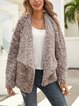 Brown V Neck Cotton-Blend Long Sleeve Plain Outerwear