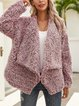 Wine Red Casual Cotton-Blend Long Sleeve Shawl Collar Outerwear