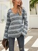 Blue Paneled Long Sleeve Striped Holiday Shirts & Tops