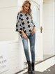 Gray Cotton-Blend Long Sleeve Casual Paneled Shirts & Tops