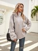 Gray Stand Collar Casual Cotton-Blend Shirts & Tops