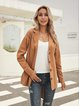 Khaki Cotton-Blend Casual Plain Outerwear