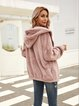 Purple Casual Hoodie Cotton-Blend Outerwear