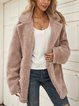 Brown Plain Shawl Collar Cotton-Blend Long Sleeve Outerwear
