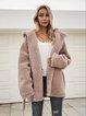 Brown Casual Shawl Collar Outerwear