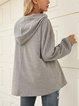 Gray Printed Long Sleeve Cotton-Blend Shirts & Tops