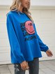 Royal Blue Long Sleeve Hoodie Cotton-Blend Casual Shirts & Tops