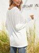 White V Neck Long Sleeve Plain Shirts & Tops