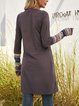 Gray Long Sleeve Shift Crew Neck Dresses