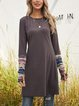Deep Gray Paneled Casual Crew Neck Tribal Outerwear