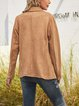 Khaki Long Sleeve Cotton-Blend Shawl Collar Outerwear