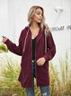 Wine Red Paneled Long Sleeve Outerwear