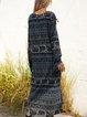 Blue A-Line V Neck Cotton-Blend Boho Dresses