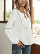 White Paneled Casual Cotton-Blend Shirts & Tops