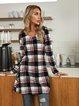 Black Checkered/plaid Cotton-Blend Crew Neck Holiday Dresses