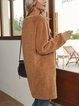 Brown Boho Paneled Crew Neck Cotton-Blend Dresses