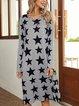 Gray Long Sleeve Cotton-Blend Geometric Shift Dresses