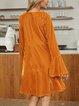 Yellow Long Sleeve Casual Paneled Dresses