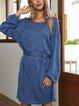 Blue Cotton-Blend Crew Neck Casual A-Line Dresses