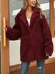 Red Casual Plain Long Sleeve Outerwear