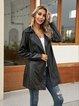 Black Shawl Collar Paneled Plain Long Sleeve Outerwear