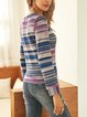 Pink Striped Casual Long Sleeve Paneled Shirts & Tops