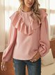 Pink Paneled Long Sleeve Shirts & Tops