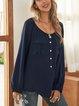 Deep Blue Plain Long Sleeve Cotton-Blend Shirts & Tops