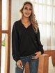 Black Boho Paneled Plain V Neck Shirts & Tops