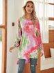 Violet Paneled Crew Neck Cotton-Blend Holiday Dresses