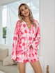 Pink Casual Cotton-Blend Paneled Floral Suits