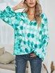Green Casual V Neck Cotton-Blend Shirts & Tops