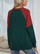 Green Paneled Cotton-Blend Long Sleeve Shirts & Tops