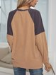 Coffee Crew Neck Long Sleeve Cotton-Blend Paneled Shirts & Tops