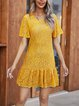 Yellow Boho Plain Dresses
