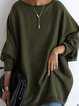Green Cotton-Blend Casual Shift Shirts & Tops