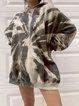 Loose Round Neck Medium Length Tie-Dye Print Hoodie