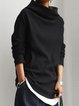 Black Cotton-Blend Casual Shirts & Tops