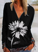 Black Knitted Floral-Print Vintage Shirts & Tops