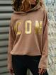 Coffee Long Sleeve Plain Casual Sweatshirt