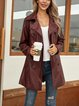 Wine Red Paneled Boho Shawl Collar Outerwear