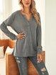 Gray Plain V Neck Long Sleeve Cotton-Blend Shirts & Tops