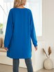 Royal Blue Holiday Paneled Letter Cotton-Blend Dresses