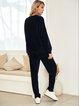 Deep Blue Casual Crew Neck Cotton-Blend Suits