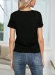 Green Paneled V Neck Short Sleeve Shirts & Tops
