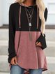 Pink Hoodie Long Sleeve Cotton-Blend Shirts & Tops