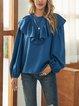 Blue Boho Paneled Crew Neck Shirts & Tops