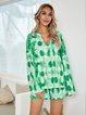 Green Paneled V Neck Boho Cotton-Blend Suits
